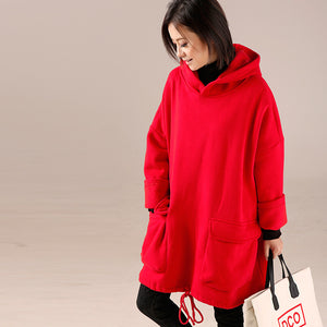 fashion red women high neck cotton hooded blouses