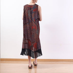 fashion red yellow prints long chiffon dresses oversized tassel chiffon clothing dresses casual sleeveless maxi dresses