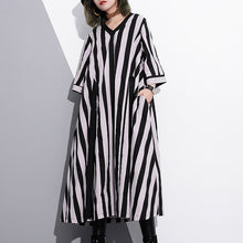 fashion striped cotton caftans Loose fitting tie waist cotton maxi dress top quality v neck cotton caftans