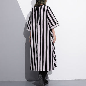 fashion striped cotton caftans Loose fitting tie waist cotton maxi dress fine v neck cotton caftans