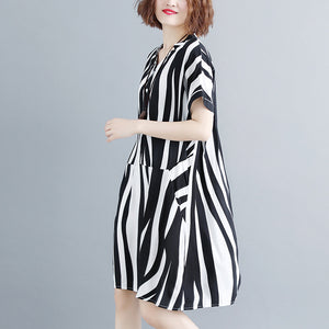 fashion striped cotton linen dresses plus size short sleeve gown 2018 v neck cotton linen dress