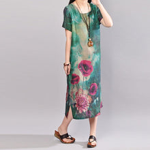 Load image into Gallery viewer, fashion summer maxi dress plus size Retro Short Sleeve Flower Summer Long Dress