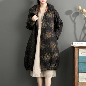 fashion thick warm print patchwork cotton cardigans plus size linen long sleeve winter coats