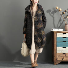 Load image into Gallery viewer, fashion thick warm print patchwork cotton cardigans plus size linen long sleeve winter coats