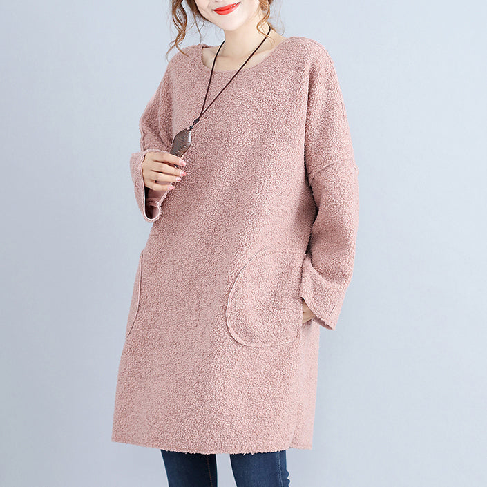 fashion warm pink corduroy mid shift dresses oversize big pockets knit dress