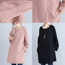 Load image into Gallery viewer, fashion warm pink corduroy mid shift dresses oversize big pockets knit dress
