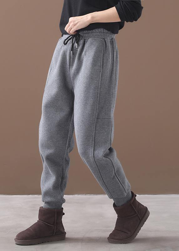 fashion warm winter cotton gray pant loose patchwork drawstring elastic waist casual pants