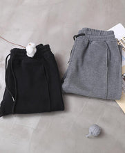 Load image into Gallery viewer, fashion warm winter cotton gray pant loose patchwork drawstring elastic waist casual pants