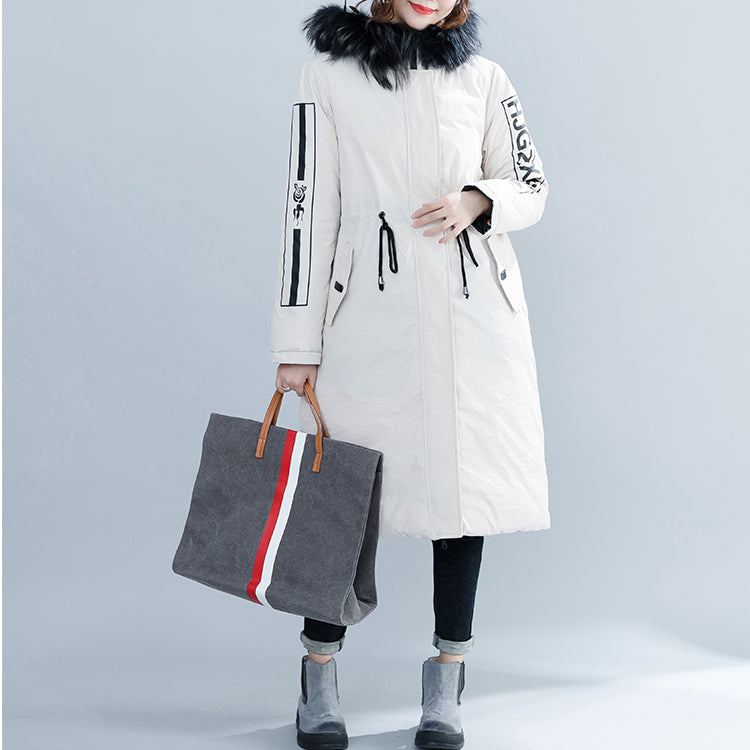 fashion white Parka Loose fitting hooded fur collar Letter quilted coat Casual tie waist pockets cotton coats