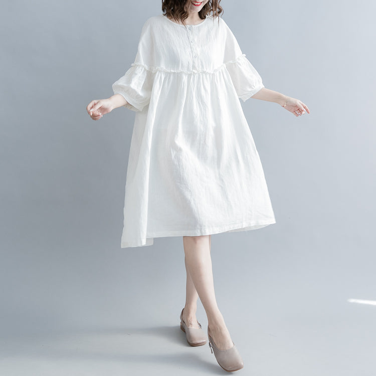 fashion white cotton linen knee dress plus size clothing cotton linen clothing dresses New lantern sleeve Cinched o neck baggy dresses