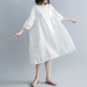 fashion white cotton linen knee dress plus size clothing cotton linen clothing dresses New lantern sleeve wrinkled o neck baggy dresses
