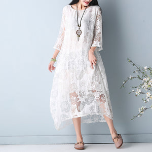 fashion white hollow out maxi dresses o neck Half sleeve summer dress asymmetric summer maxi dress