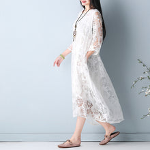 Load image into Gallery viewer, fashion white hollow out maxi dresses o neck Half sleeve summer dress asymmetric summer maxi dress