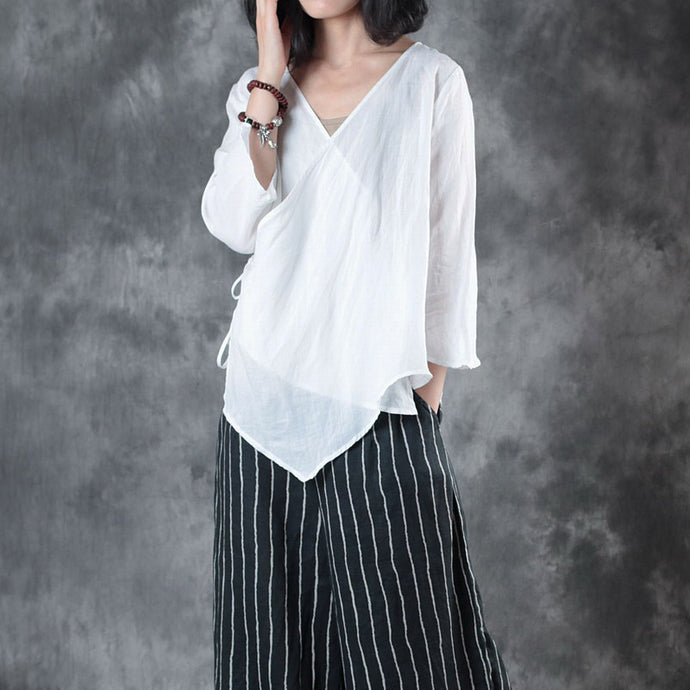 fashion white linen blouse plus size clothing linen cotton t shirt women half sleeve v neck tie waist cotton clothing