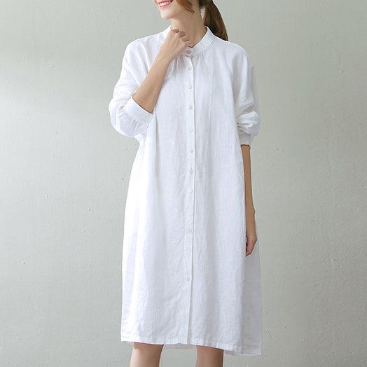 fashion white linen caftans oversize Stand wrinkled caftans top quality long sleeve pockets kaftan