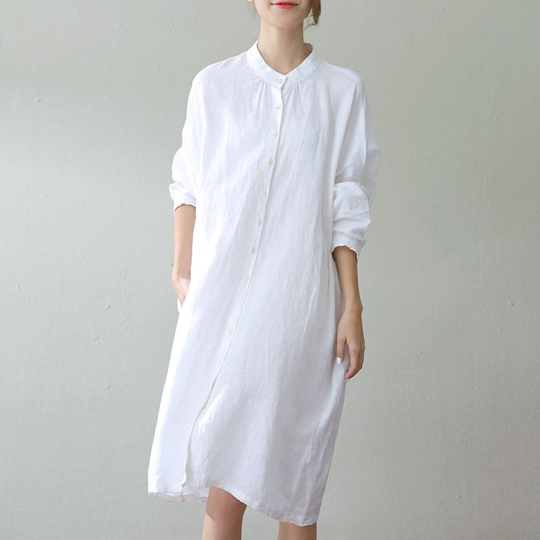 ada17e8d4 Load image into Gallery viewer, fashion white linen caftans oversize Stand  wrinkled caftans top quality ...