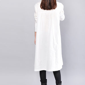 fashion white linen shift dress casual holiday dresses Fine wrinkled solid color linen cotton dress