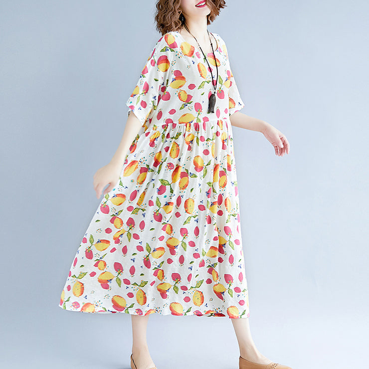 fashion white long cotton linen dresses casual short sleeve print baggy dresses Elegant v neck cotton linen dresses