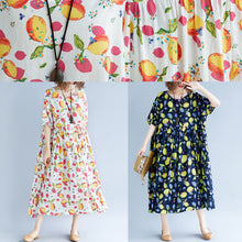 Load image into Gallery viewer, fashion white long cotton linen dresses casual short sleeve print baggy dresses Elegant v neck cotton linen dresses