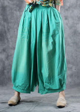 Load image into Gallery viewer, fashion women cotton green crop pants plus size elastic waist wide leg pants