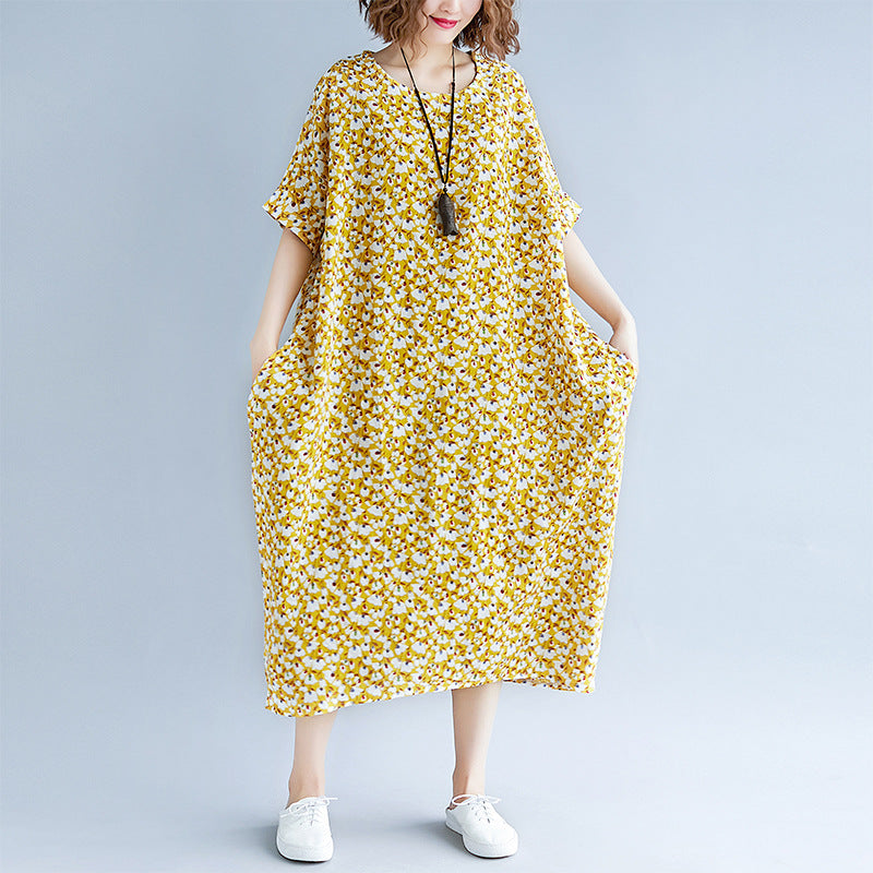 fashion yellow cotton linen dresses casual print short sleeve cotton gown fine o neck dresses