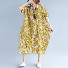 Load image into Gallery viewer, fashion yellow cotton linen dresses casual print short sleeve cotton gown top quality o neck dresses