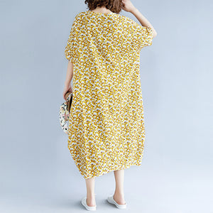 fashion yellow cotton linen dresses casual print short sleeve cotton gown top quality o neck dresses
