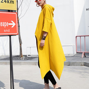 fashion yellow linen waistcoat plusize shirts casual low high design hooded linen t shirt