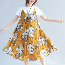 Load image into Gallery viewer, fashion yellow prints Midi-length chiffon sleeveless dress plus size traveling dress and cotton tops casual two pieces