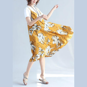 fashion yellow prints Midi-length chiffon sleeveless dress plus size traveling dress and cotton tops casual two pieces