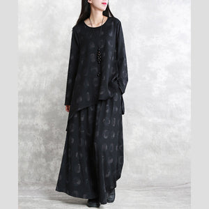 fasion black print pure cotton blended blouse plus size two pieces 2018 long sleeve asymmetric o neck pockets cotton blended tops baggy trouse