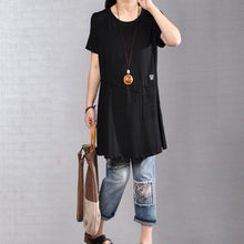 Load image into Gallery viewer, fasion summer t shirtoversize  Casual Round Neck Short Sleeve Women Black T Shirt