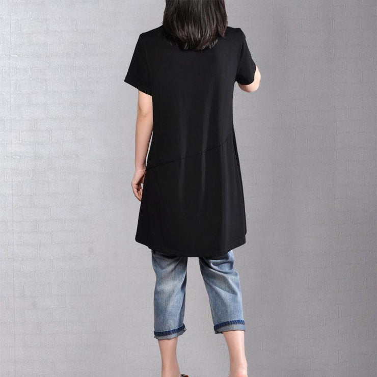 fasion summer t shirtoversize  Casual Round Neck Short Sleeve Women Black T Shirt