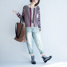 Afbeelding in Gallery-weergave laden, fine cotton striped knit cardigans plus size casual long sleeve short sweater outwear