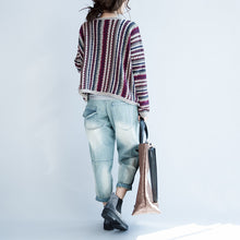 Load image into Gallery viewer, fine cotton striped knit cardigans plus size casual long sleeve short sweater outwear