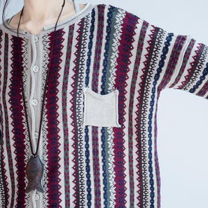 fine cotton striped knit cardigans plus size casual long sleeve short sweater outwear