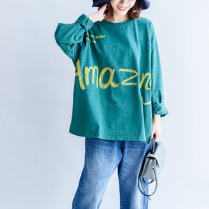 fine cotton t shirt green alphabet embroidery pullover plus size batwing sleeve tops