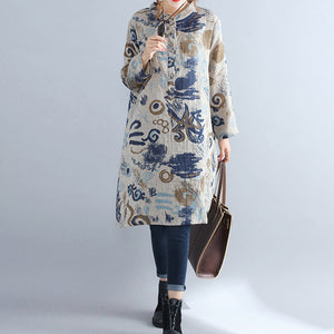 floral pure cotton dress casual dress Elegant stand collar long sleeve cotton dress