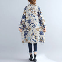 Load image into Gallery viewer, floral pure cotton dress casual dress Elegant stand collar long sleeve cotton dress