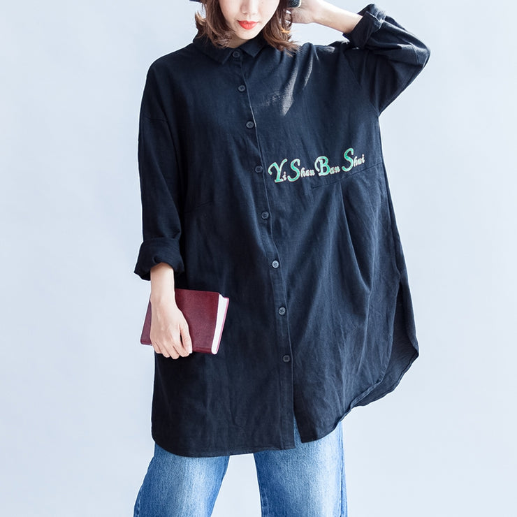 front alphabet embroidery black cotton  tops plus size long sleeve mid long shirts