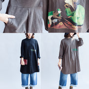 gray autumn back print cotton shirts oversize front embroidery alphabet lapel blouse