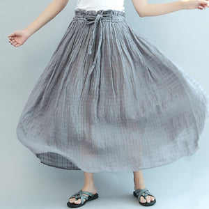 gray casual summer linen skirts plus size  a line skirts elastic waist maxi skirts