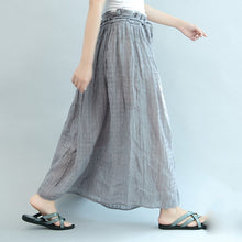 Load image into Gallery viewer, gray casual summer linen skirts plus size  a line skirts elastic waist maxi skirts