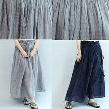 Afbeelding in Gallery-weergave laden, gray casual summer linen skirts plus size  a line skirts elastic waist maxi skirts