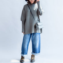 Load image into Gallery viewer, gray green casual hooded woolen blended outwear oversize print knit coats