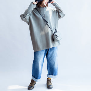 gray green casual hooded woolen blended outwear oversize print knit coats