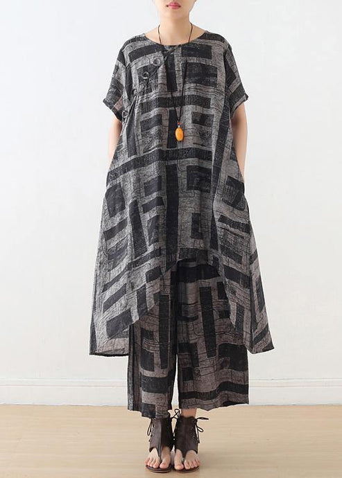 gray prints casual silk linen two pieces side open tops and elastic waist wide leg pants