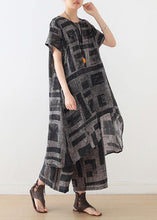 Load image into Gallery viewer, gray prints casual silk linen two pieces side open tops and elastic waist wide leg pants