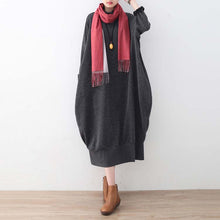 Load image into Gallery viewer, gray sweater dresses oversized sweater vintage high neck pullover knit dress patchwork