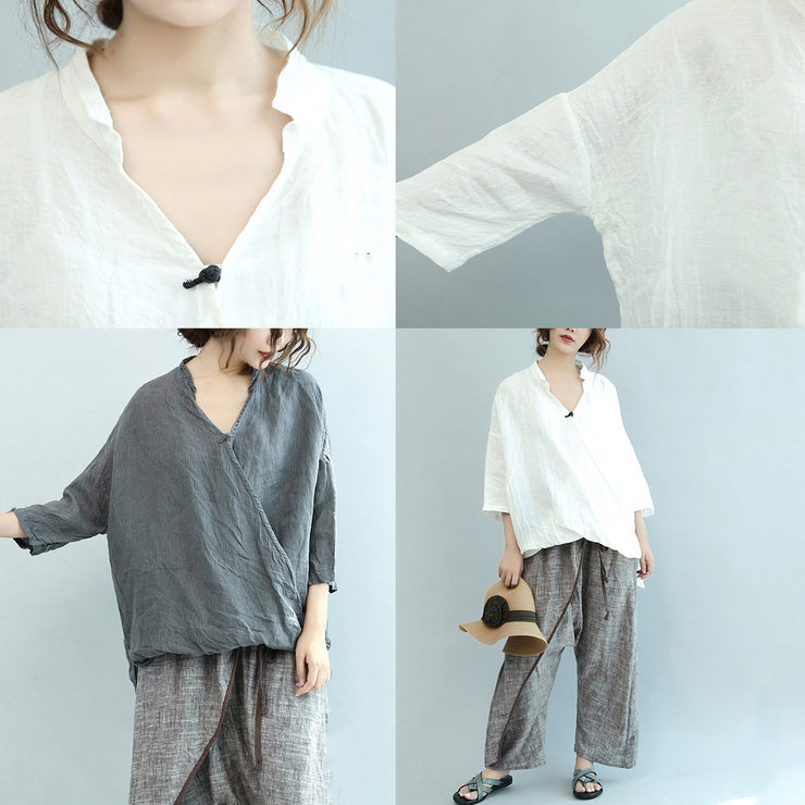 gray vintage linen blouse oversize Chinese Button o neck t shirt